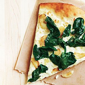 Three-Cheese White Pizza with Spinach with Garlic   MyRecipes.com