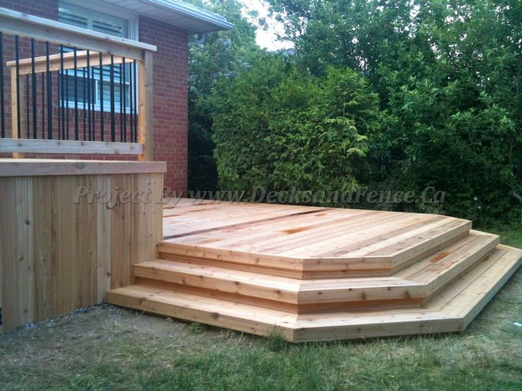 2 level deck with platform and railings pool ideas for Pool platform ideas