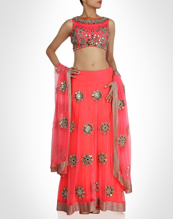 Coral lehenga bridges contemporary with traditional. Shop Now: www.kimaya.in