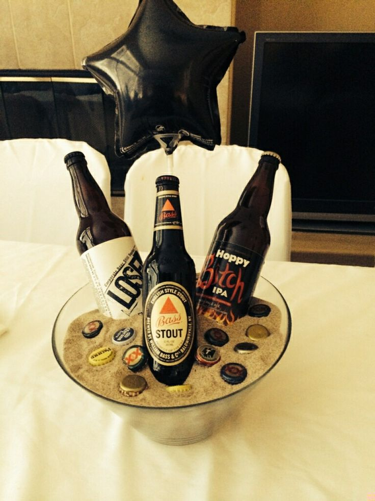 Beer theme party centerpieces   Rehearsal Dinner   Pinterest