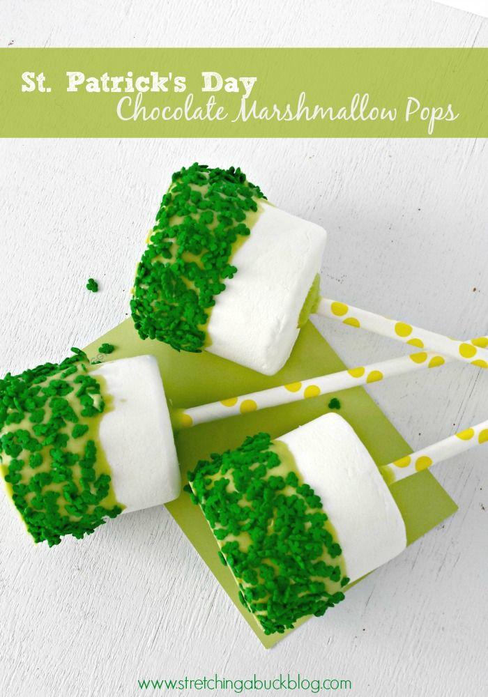 St. Patricks Day Chocolate Marshmallow Pops http://www.stretchingabuckblog.com/2014/02/st-patricks-day-chocolate-marshmallow-pops.html