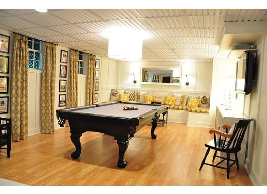 Great Basement remodel. Banquet by pool table is really neat