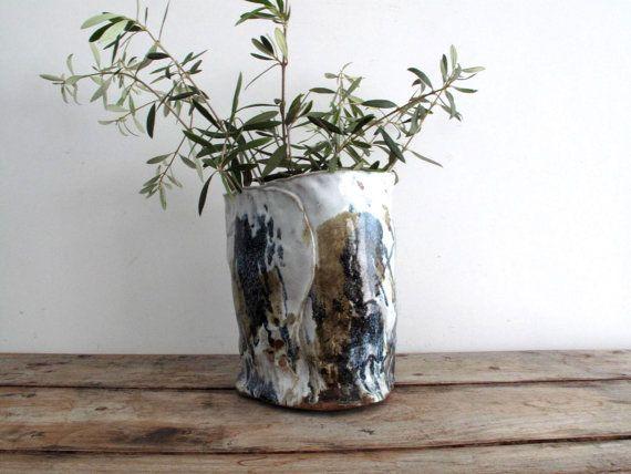 Vintage Ceramic Flower Vase Large Handmade Pottery