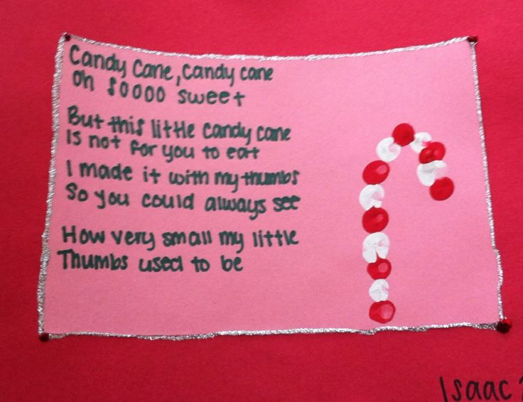 Candy Cane Poem: red and white thumbprints, construction paper ...