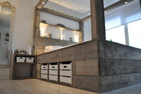 Keuken Steigerhout Zelf Maken : Canopy Bed with Storage