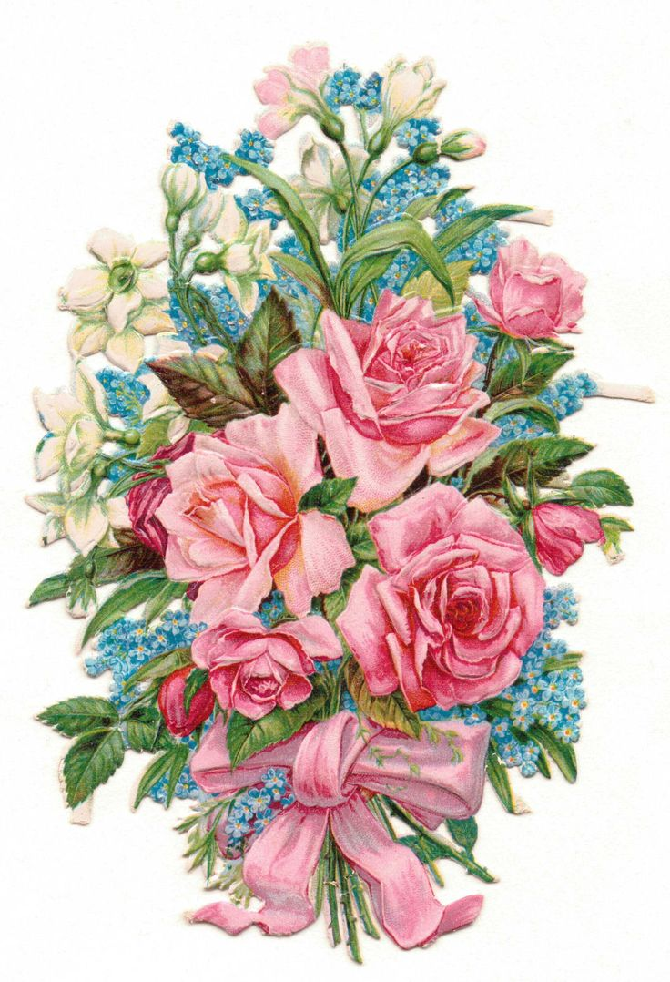 Plaatjes : Rose - rose Glanzbilder - Victorian Die Cut - Victorian Scrap - Tube Victorienne - Glansbilleder -