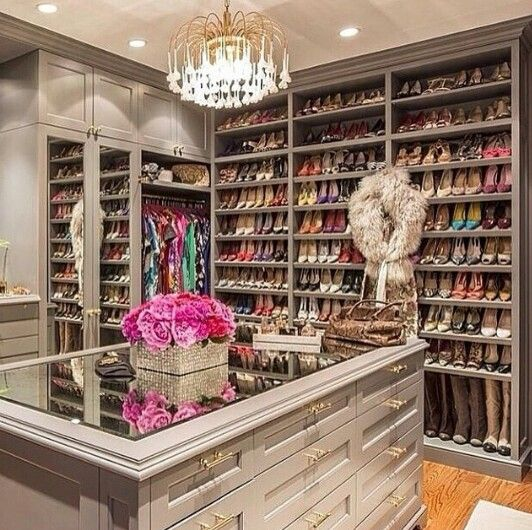 Taupe paint fancy closet pinterest for Fancy walk in closet