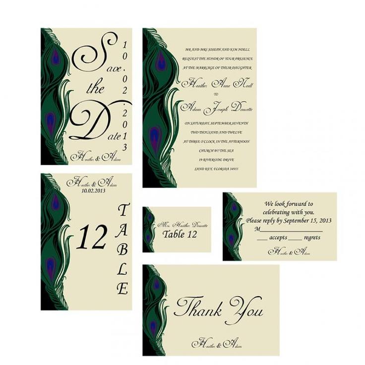 Peacock Wedding Invitation Package