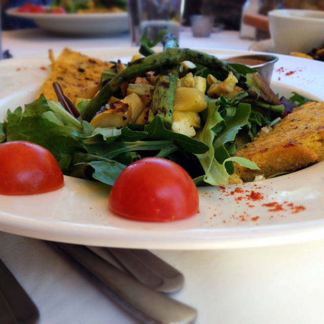 Grilled polenta salad with roasted squash, zucchini, and asparagus ...