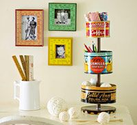 Vintage tins into stand
