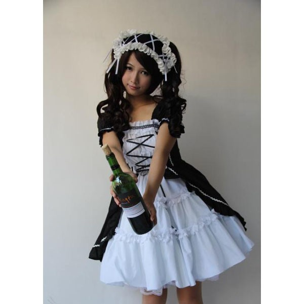 Short Sleeve Knee Length Black Lolita Fashion Maid Suit