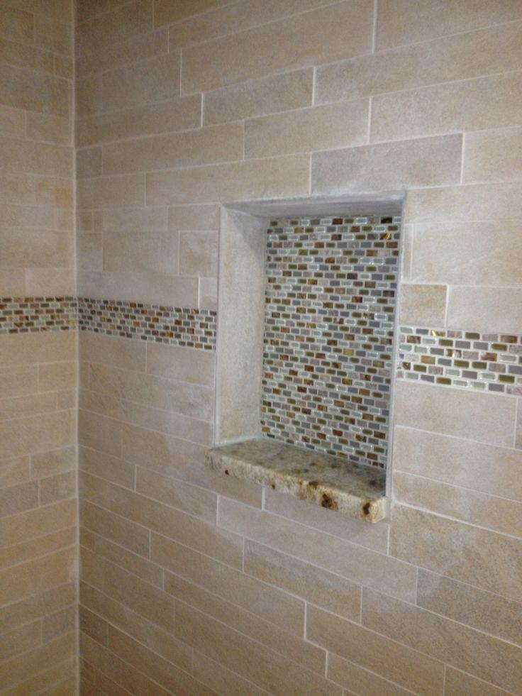 shower shelf custom tile work bathroom remodel pinterest. Black Bedroom Furniture Sets. Home Design Ideas