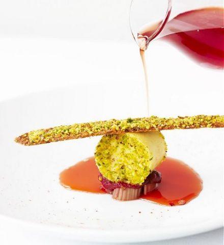 Pistachio Parfait, Pistachio Tuile, Strawberry Crystal