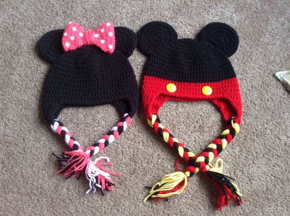 Toddler and child crochet minnie mouse mickey mouse hat