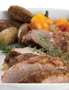 Herbed Pork Tenderloin with Oven Roasted Potatoes - Combine oil ...