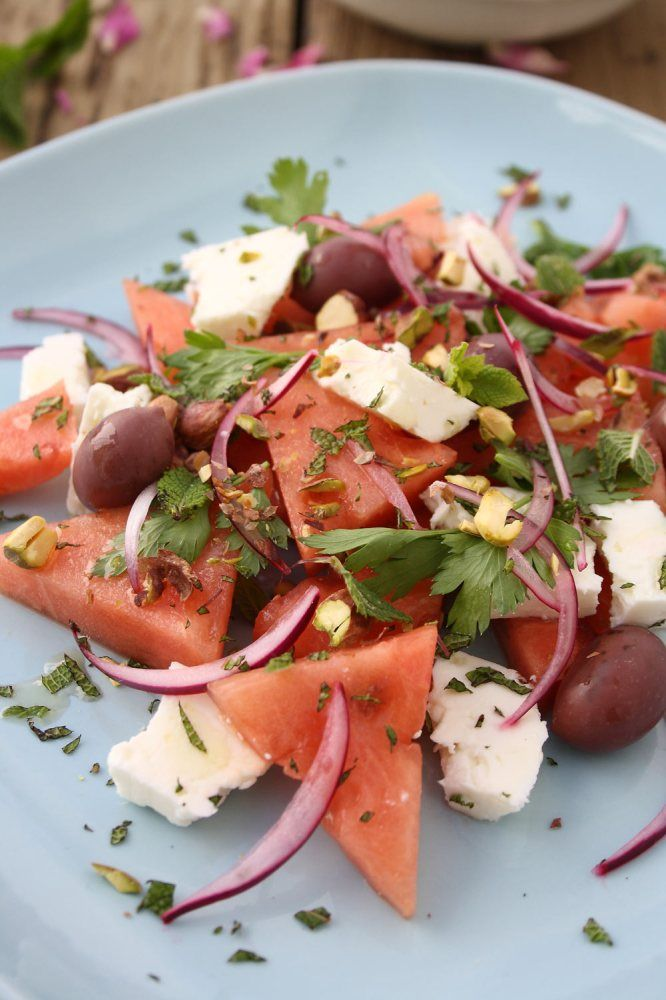 Watermelon, Feta and Mint Salad with Pistachio and Parsley