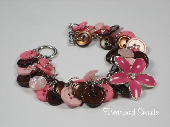 Chocolate Berries Button Bracelet Pink and by TreasuredSweets, $24.00