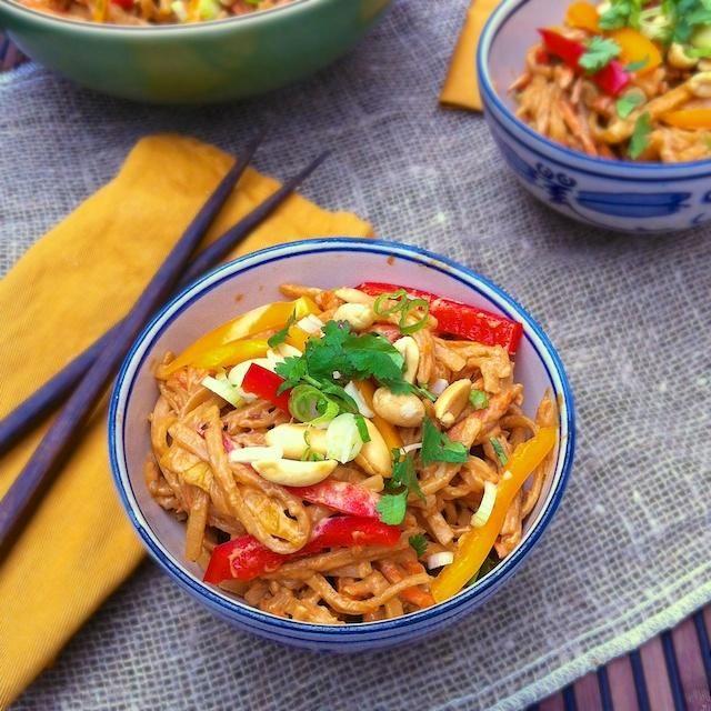 Pasta Recipe : Spicy Peanut Noodle Salad - Secret Recipe Club