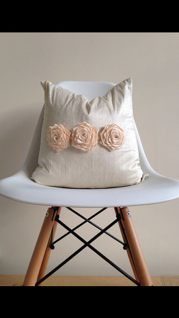 Decorative Pillows For The Bedroom : Cream Silk Pillow Cover - Home Decor - Bedroom Pillow - Girly Pillow