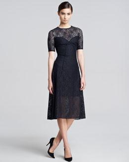 B203z nina ricci short sleeve lace a line dress