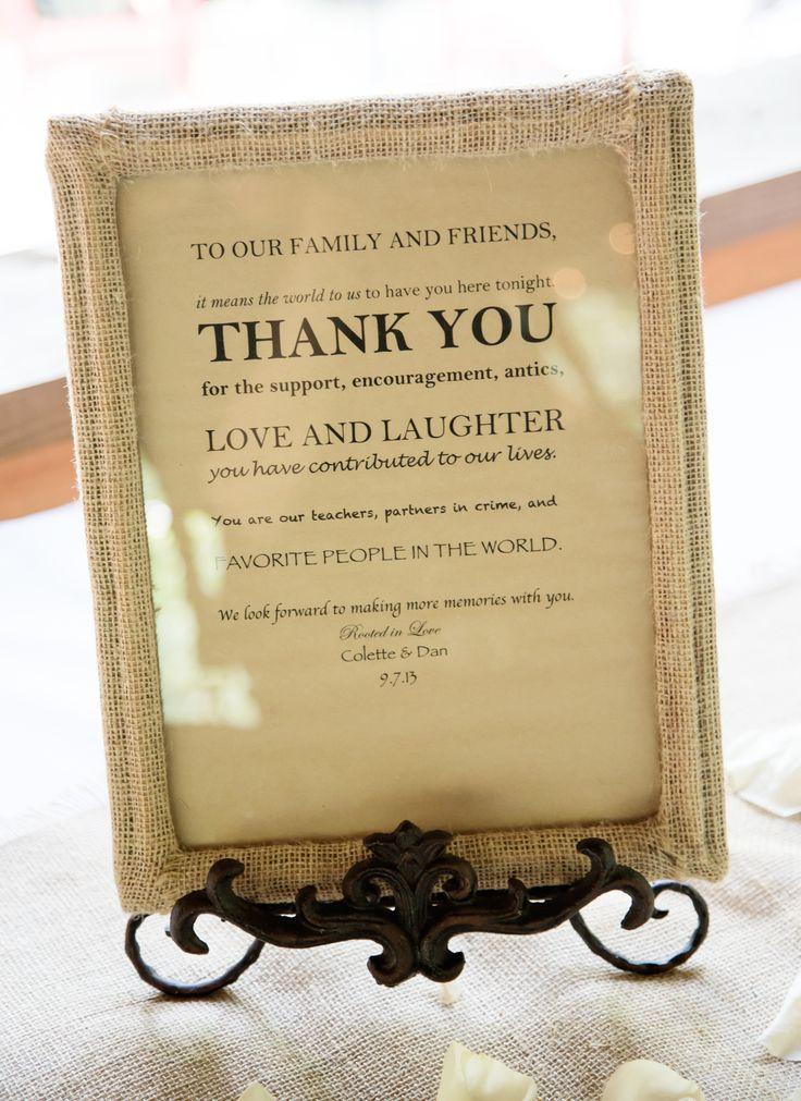 Garden Wedding Gift Table Ideas Thank you sign for gift table