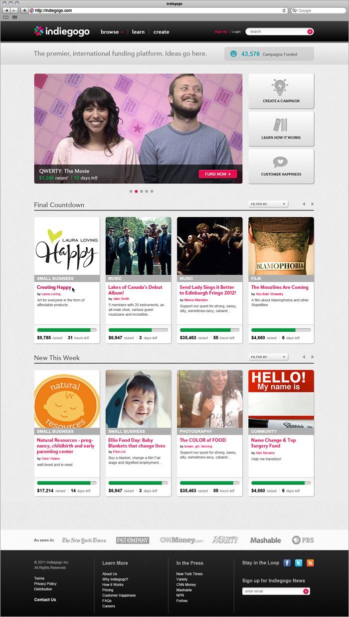 Indiegogo website design - http://indiegogo.com