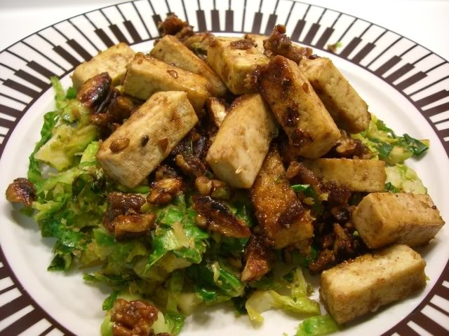 Cook, Pray, Love: Caramelized Tofu with Pecans and Brussel Sprouts