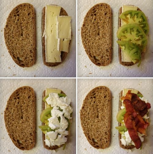 Inspiration: Grilled Brie and Goat Cheese with Green Tomato and Bacon ...