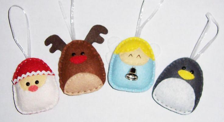 Felt santa rudolph angel and penguin ornaments by toastie studio