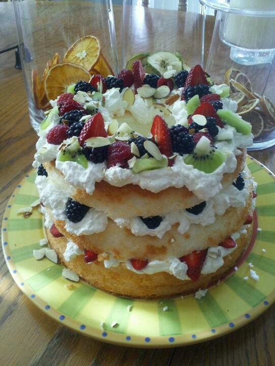 food cake apricots and herbed strawberries with angel food cake ...