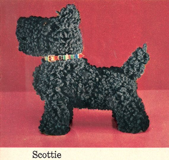 Crochet Patterns Dog : PDF Vintage Crochet Pattern SCOTTIE Dog