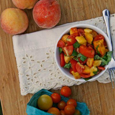 Tomato, Peach and Basil Salad