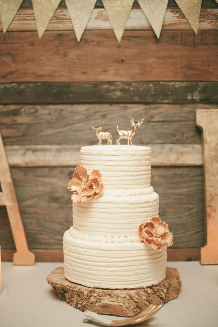 Mini gold deer cake toppers! | Photography: onelove photography - www.onelove-photo.com/  Read More: http://www.stylemepretty.com/california-weddings/2014/05/09/cozy-union-hill-inn-wedding/