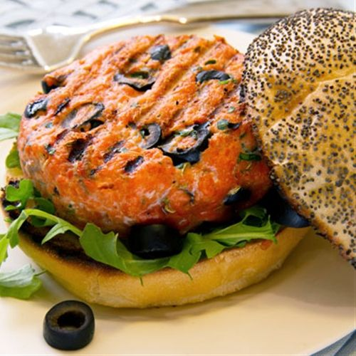 California+Salmon+Burger+with+Olives | Favorite food | Pinterest