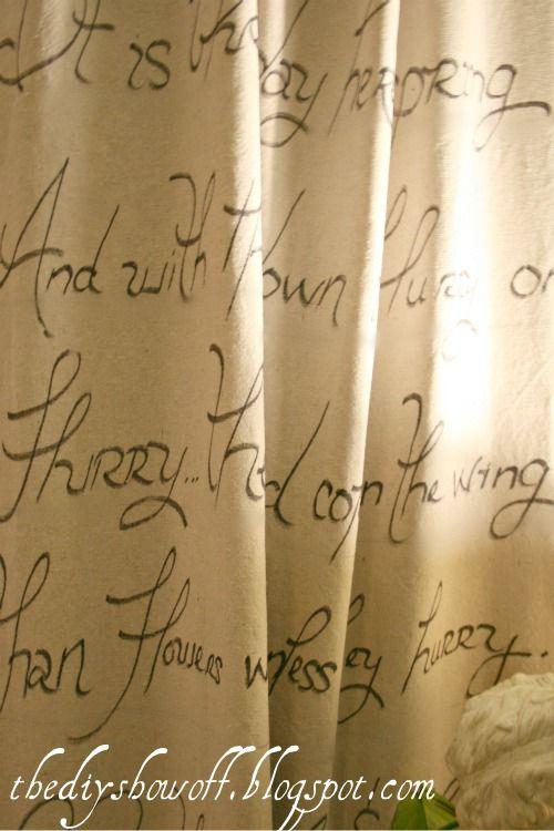 No Sew Script Drop Cloth Curtains