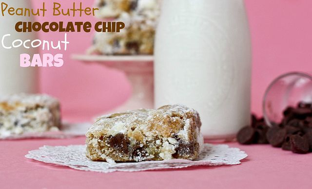 Peanut Butter Chocolate Chip Coconut Bars via Confessions of a CookbookQueen - mmmm!