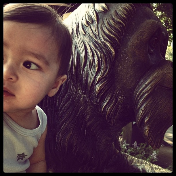 My son with ah meng s statue singapore zoo pinterest