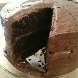 Moist chocolate cake recipe with fluffy chocolate frosting recipe. Hubby loved it and loves the frosting. Made 1.5 batches of the frosting. Could have made a double batch of frosting.  www.food.com/recipe/fluffy-chocolate-frosting-149660