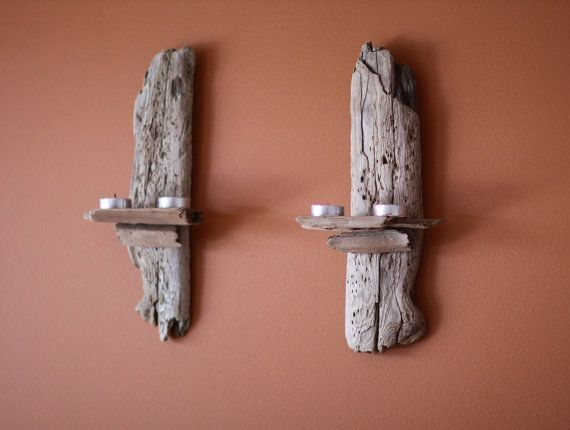 Wall Sconces Driftwood : A Pair Natural Driftwood Wall Sconce Candle Holders