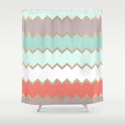 Coral And Grey Shower Curtain Copper and Teal Shower Curtain