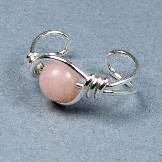 Sterling Silver Ear Cuff Pink Peruvian Opal by WireYourWorld