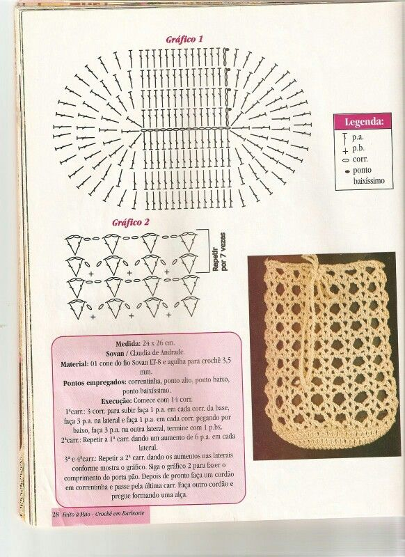 Crochet bag chart Crochet Clothing.. Pinterest