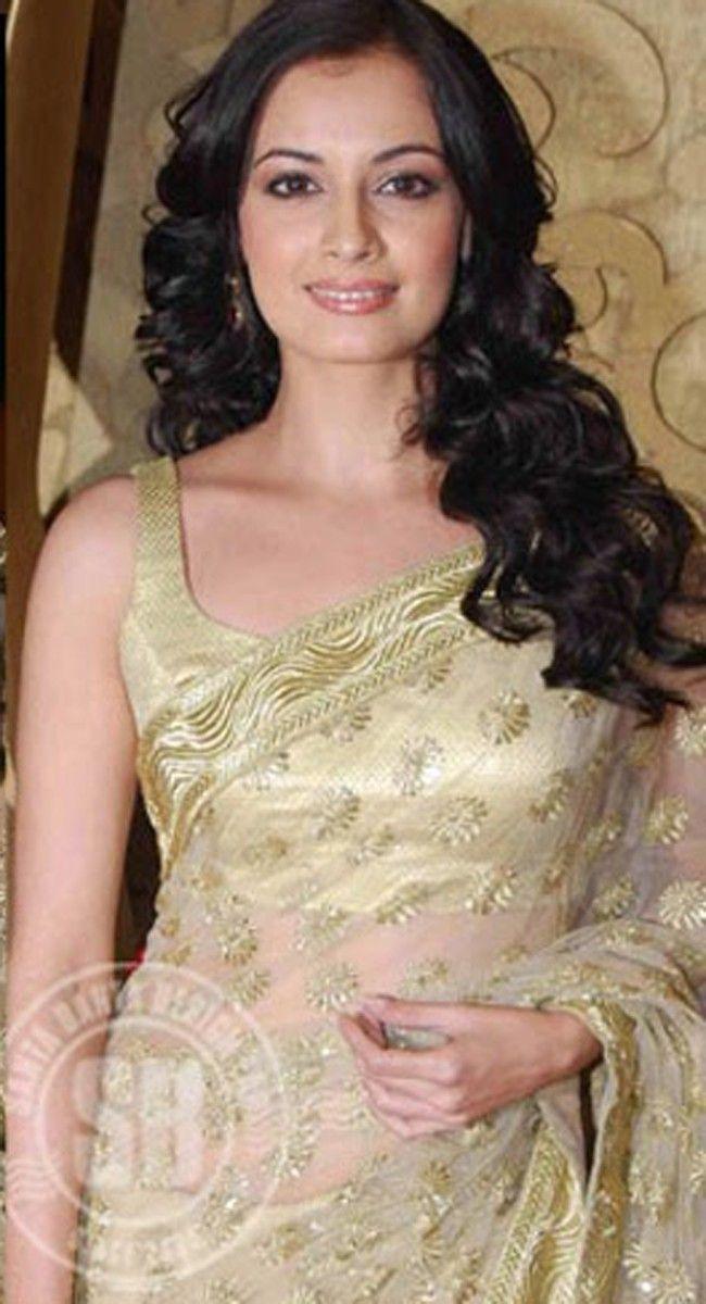 Diya Mirza Bollywood Celebrity Replica Cream Saree