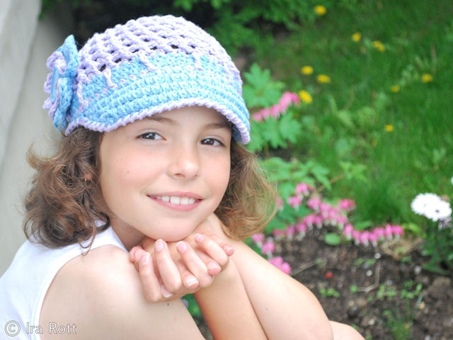 Handmade crocheted blue & purple newsboy cap for adults, for kids, and for babies.