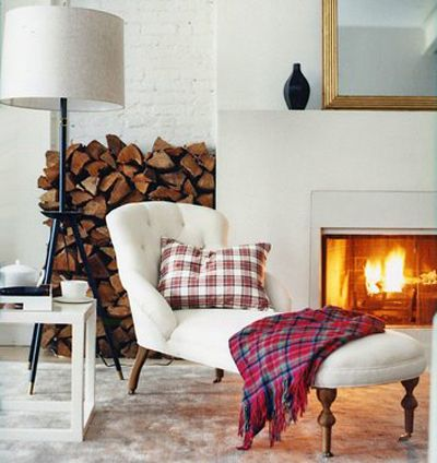 plaid pillow throw white living room wood fireplace Domino