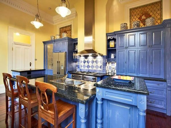 Yellow blue kitchen  kitchens  Pinterest
