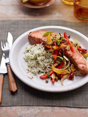 Salmon Steaks with Tricolor Pepper Relish A vibrant pepper relish adds ...