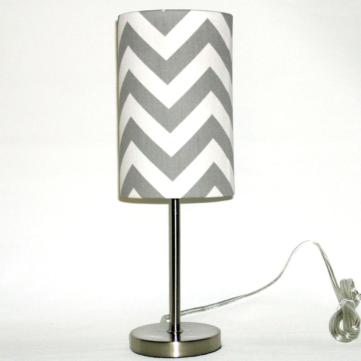 Chevron Lamp And Drum Shade In Silver Grey And White