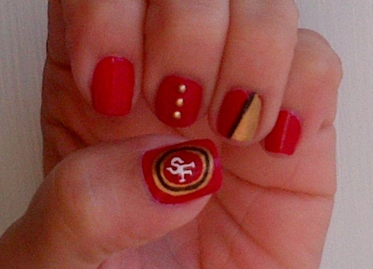 San Francisco 49ers nail art.   Things I like   Pinterest
