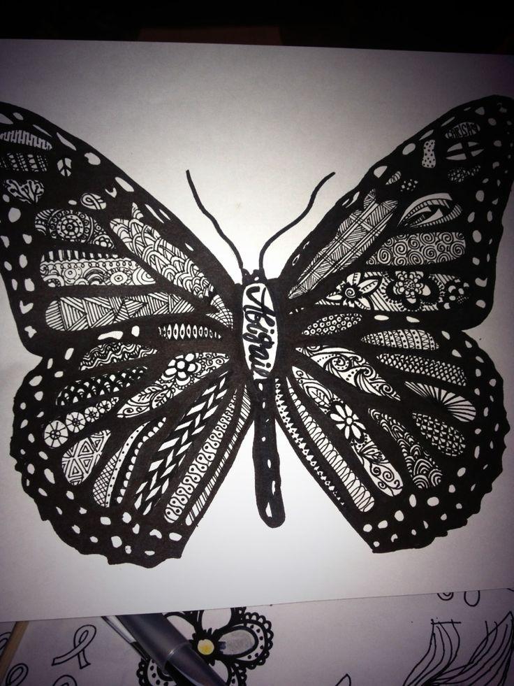 Zentangle butterfly drawingZentangles Butterfly